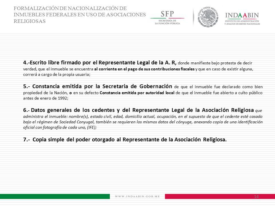 FORMALIZACIÓN DE NACIONALIZACIÓN DE INMUEBLES FEDERALES EN USO DE ASOCIACIONES RELIGIOSAS