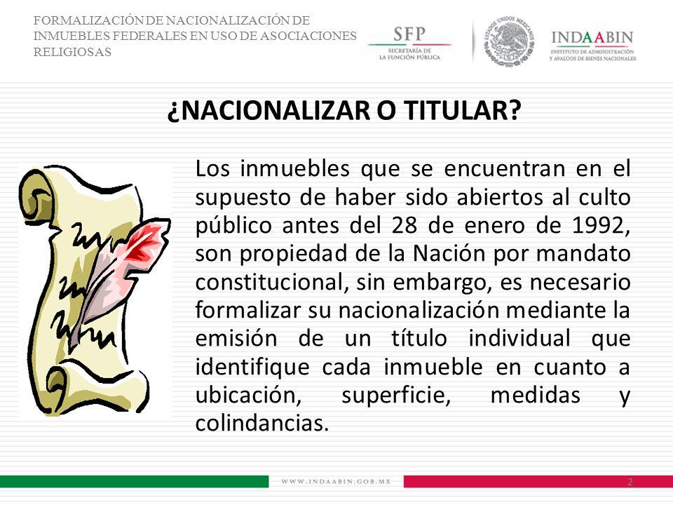 ¿NACIONALIZAR O TITULAR
