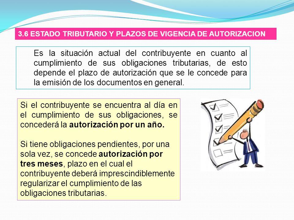 3.6 ESTADO TRIBUTARIO Y PLAZOS DE VIGENCIA DE AUTORIZACION