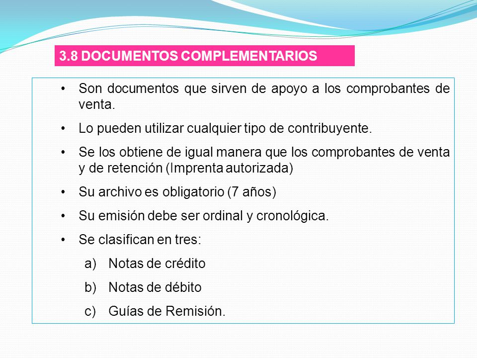 3.8 DOCUMENTOS COMPLEMENTARIOS