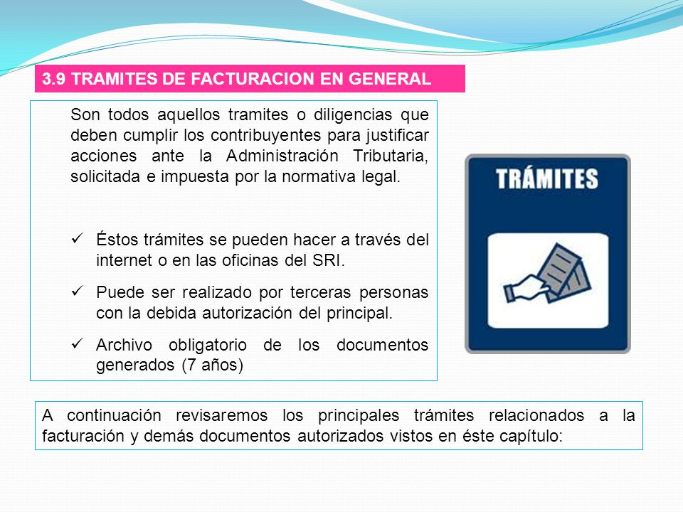 3.9 TRAMITES DE FACTURACION EN GENERAL