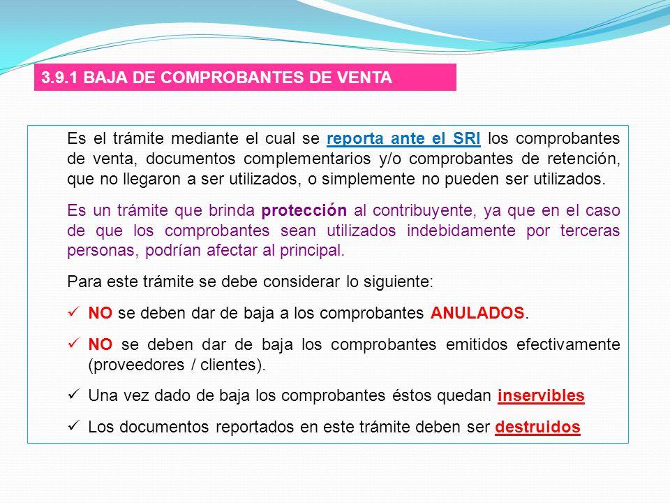 3.9.1 BAJA DE COMPROBANTES DE VENTA