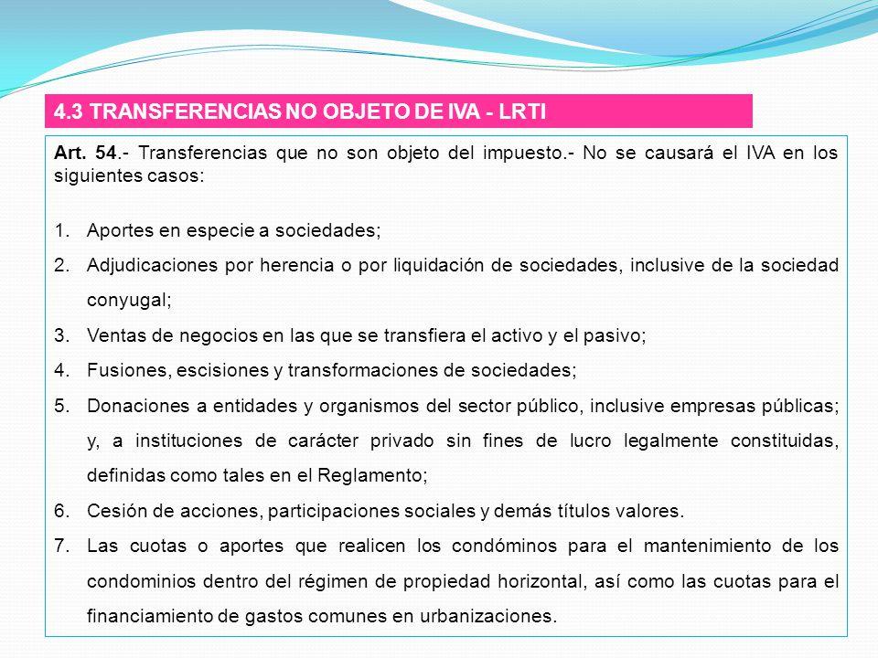 4.3 TRANSFERENCIAS NO OBJETO DE IVA - LRTI