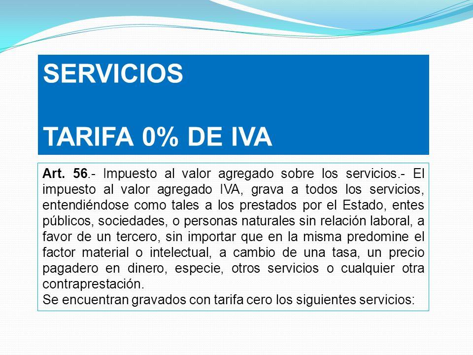 SERVICIOS TARIFA 0% DE IVA