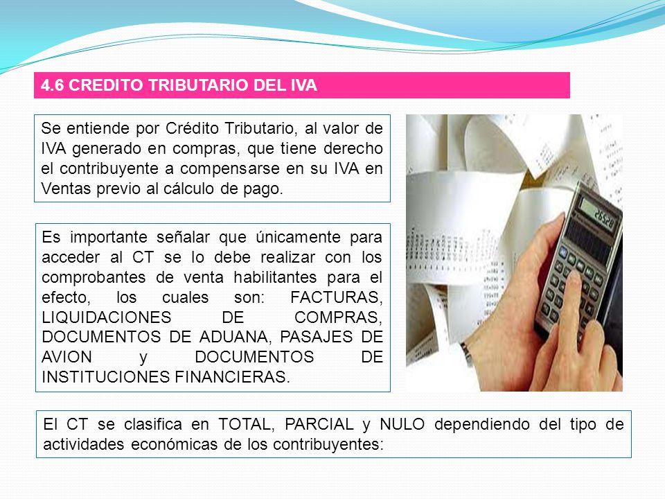4.6 CREDITO TRIBUTARIO DEL IVA