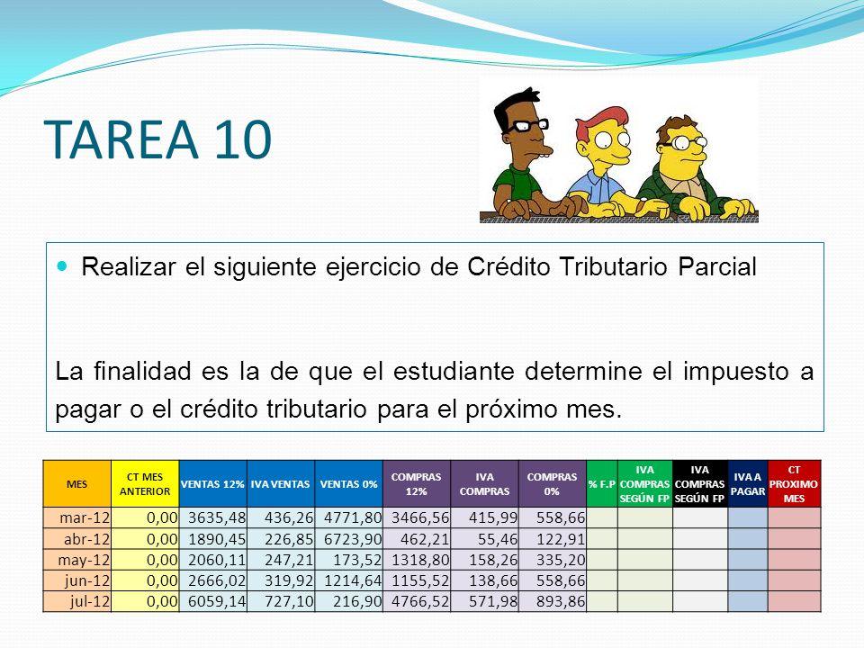 TAREA 10 Realizar el siguiente ejercicio de Crédito Tributario Parcial