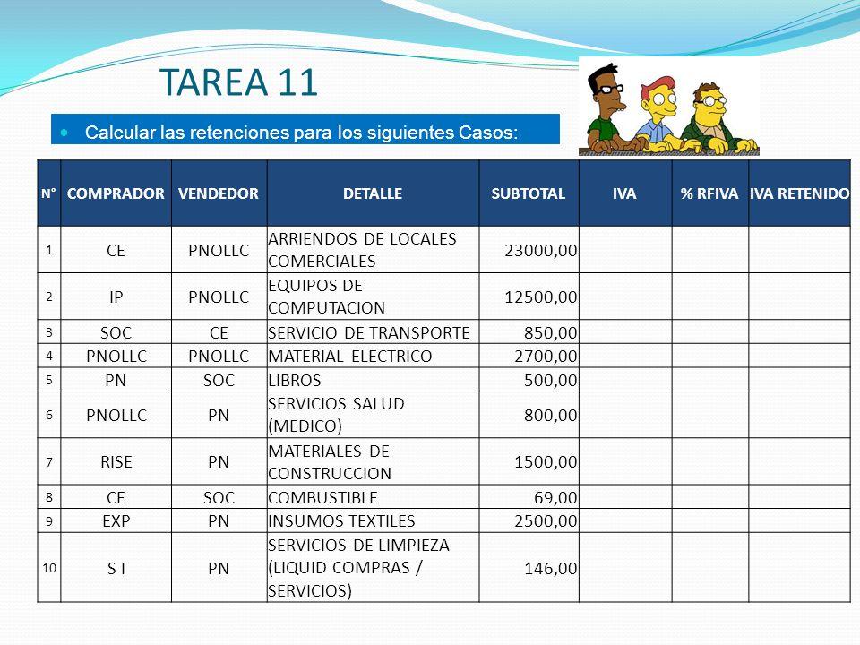TAREA 11 Calcular las retenciones para los siguientes Casos: CE PNOLLC