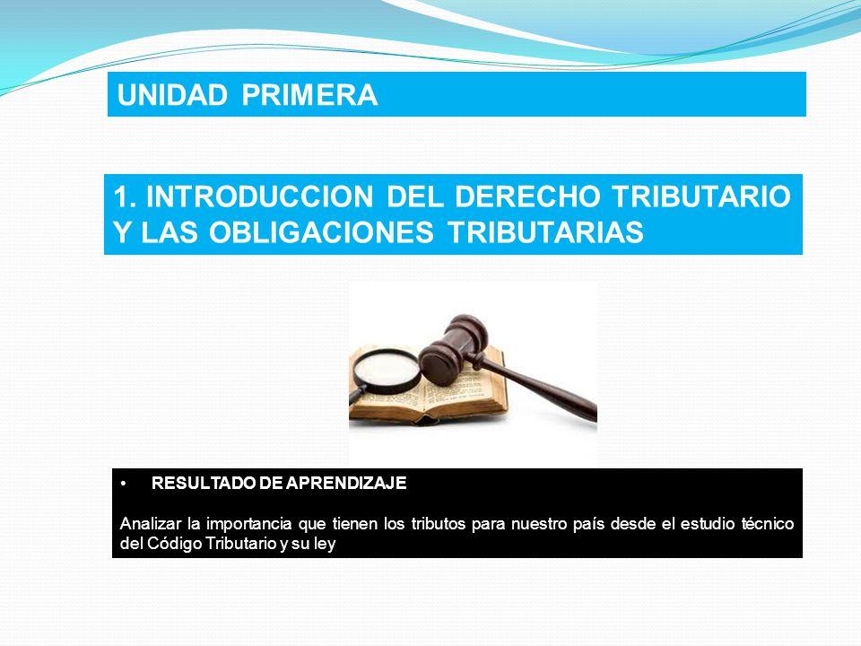1. INTRODUCCION DEL DERECHO TRIBUTARIO Y LAS OBLIGACIONES TRIBUTARIAS