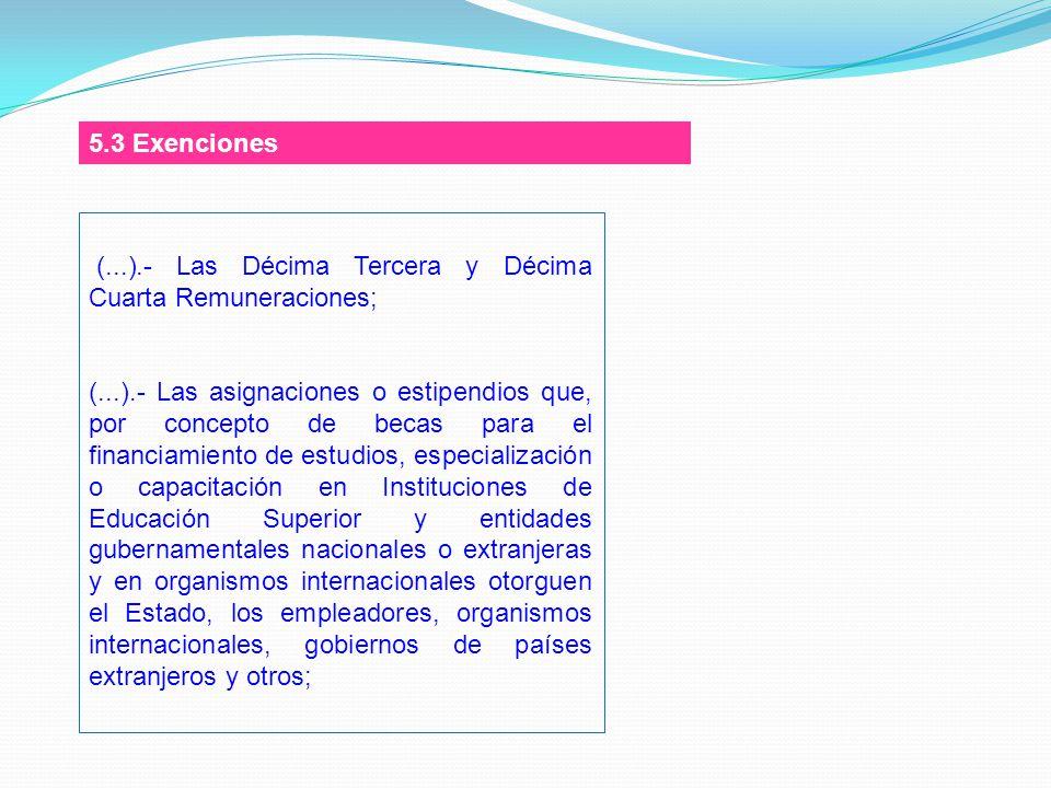 5.3 Exenciones (...).- Las Décima Tercera y Décima Cuarta Remuneraciones;