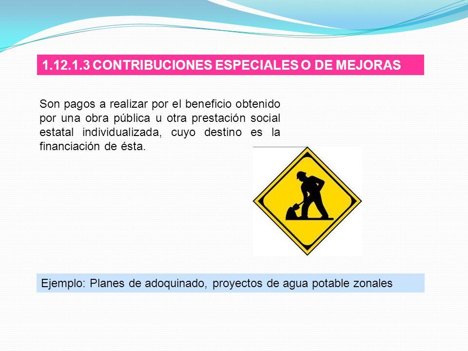 1.12.1.3 CONTRIBUCIONES ESPECIALES O DE MEJORAS