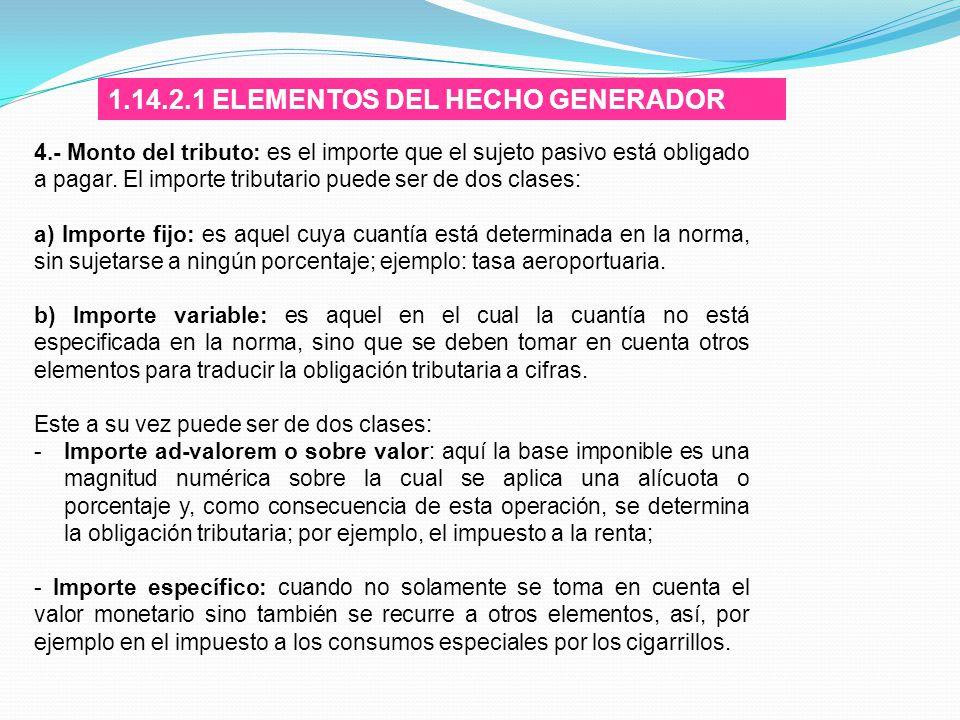 1.14.2.1 ELEMENTOS DEL HECHO GENERADOR