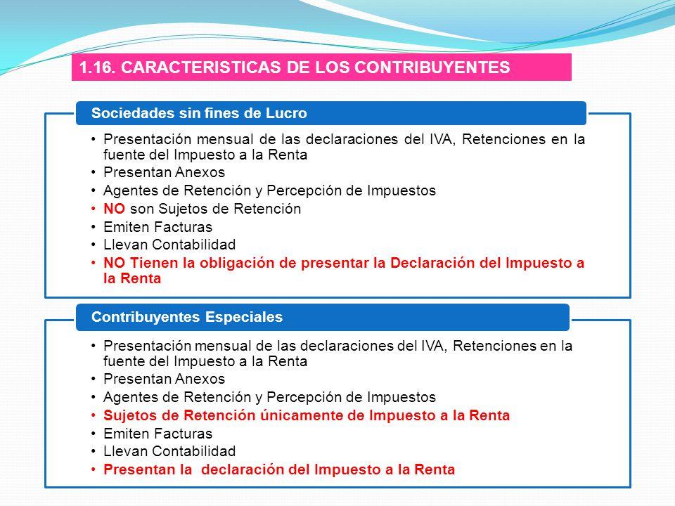 1.16. CARACTERISTICAS DE LOS CONTRIBUYENTES