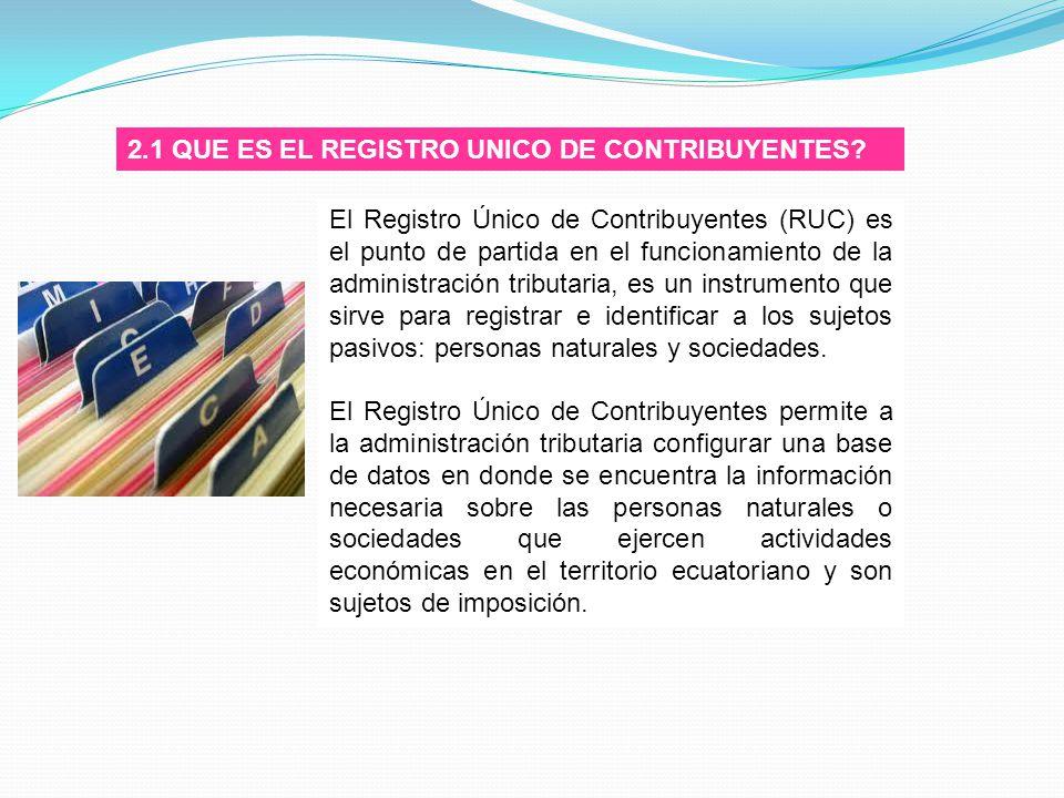 2.1 QUE ES EL REGISTRO UNICO DE CONTRIBUYENTES