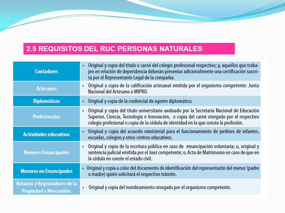 2.5 REQUISITOS DEL RUC PERSONAS NATURALES