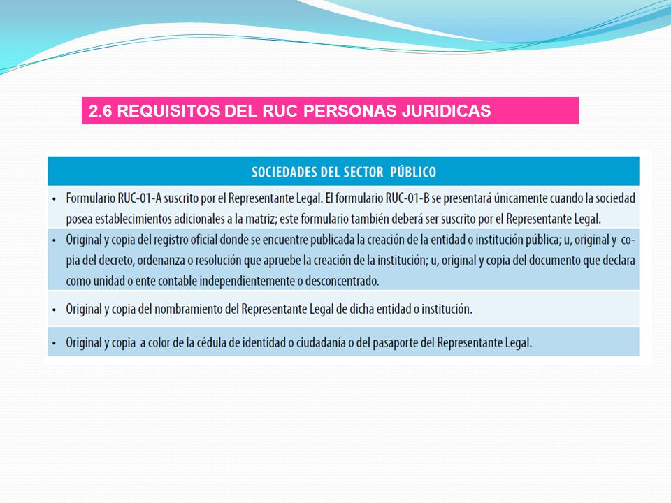 2.6 REQUISITOS DEL RUC PERSONAS JURIDICAS