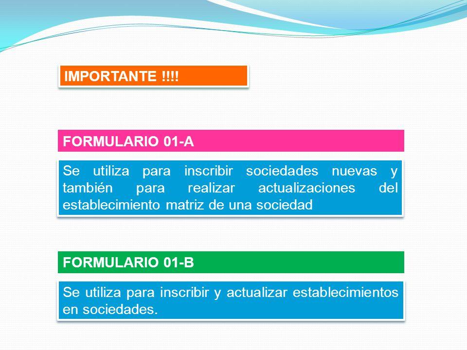 IMPORTANTE !!!! FORMULARIO 01-A.