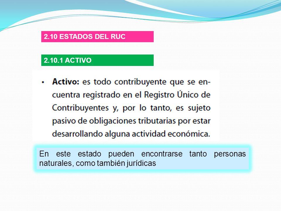2.10 ESTADOS DEL RUC 2.10.1 ACTIVO.