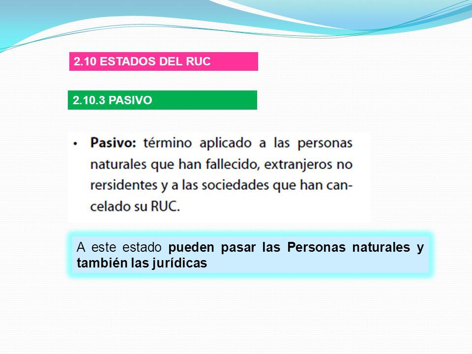 2.10 ESTADOS DEL RUC 2.10.3 PASIVO.