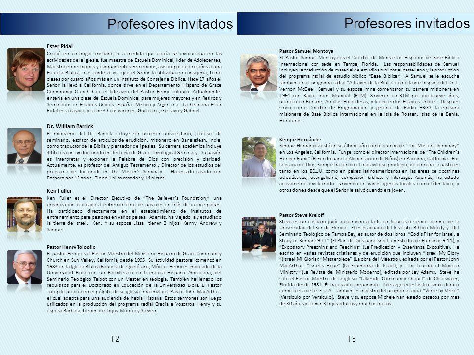 Profesores invitados Profesores invitados 12 13 Ester Pidal