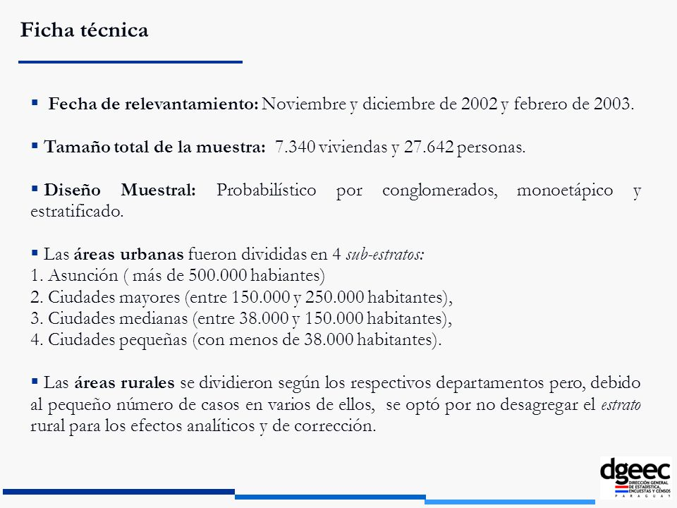Ficha técnicaFecha de relevantamiento: Noviembre y diciembre de 2002 y febrero de 2003.