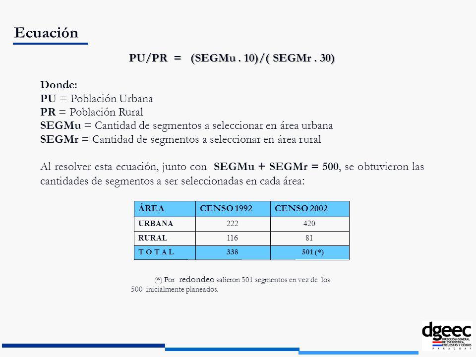 PU/PR = (SEGMu . 10)/( SEGMr . 30)