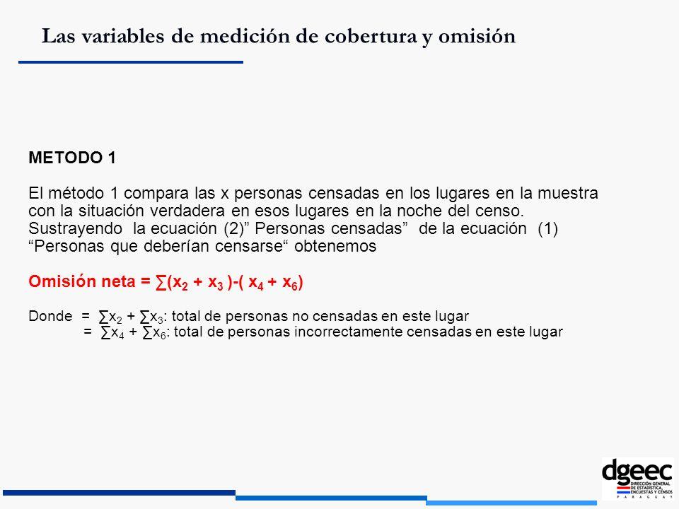 Las variables de medición de cobertura y omisión