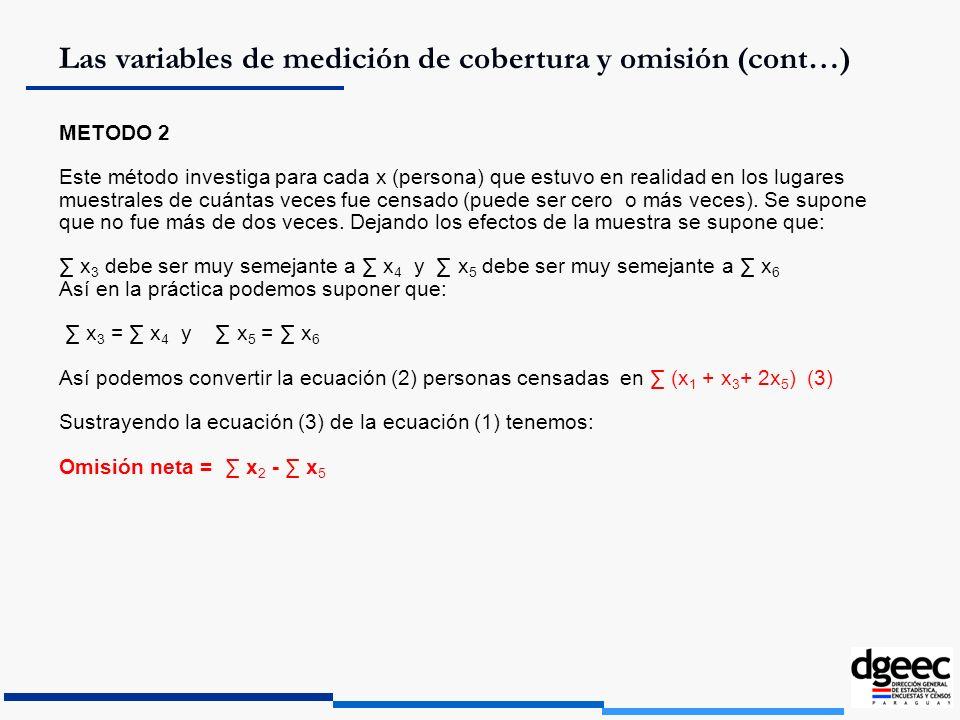 Las variables de medición de cobertura y omisión (cont…)