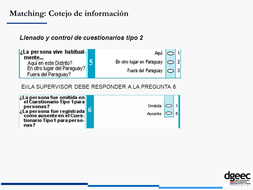 Matching: Cotejo de información