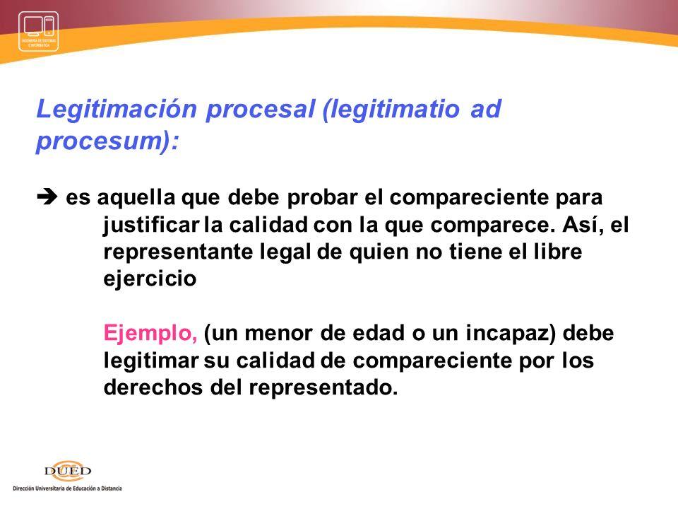 Legitimación procesal (legitimatio ad procesum):  es aquella que debe probar el compareciente para justificar la calidad con la que comparece.