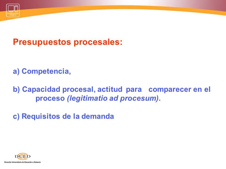Presupuestos procesales: a) Competencia, b) Capacidad procesal, actitud para comparecer en el proceso (legitimatio ad procesum).