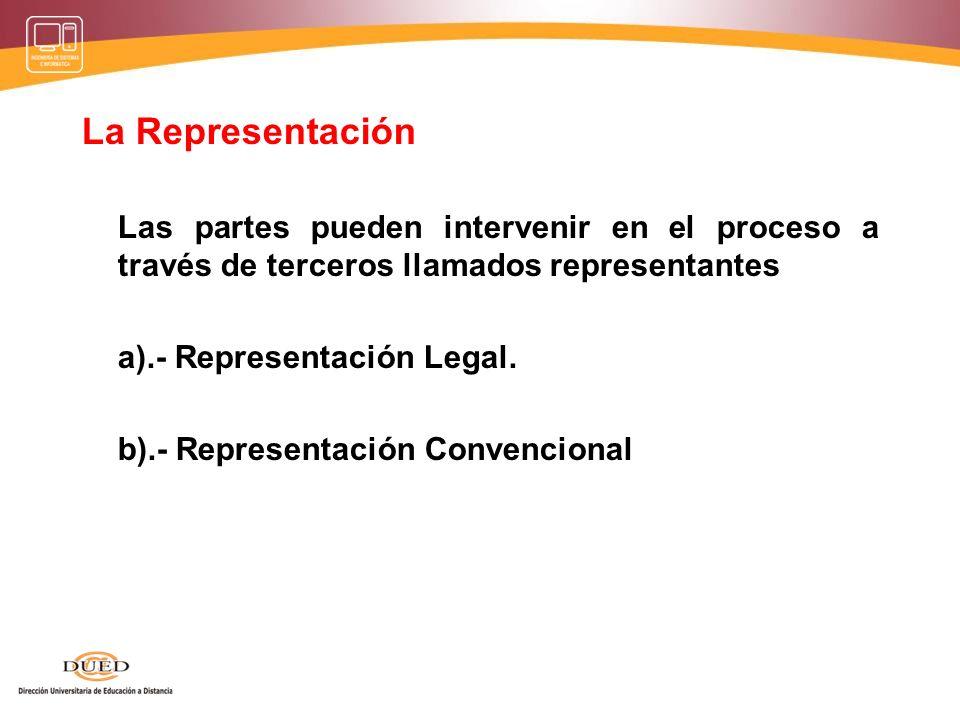 La Representación Las partes pueden intervenir en el proceso a través de terceros llamados representantes.