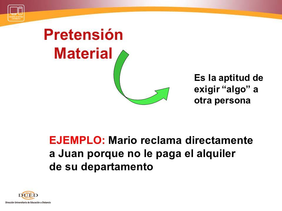 Pretensión Material EJEMPLO: Mario reclama directamente
