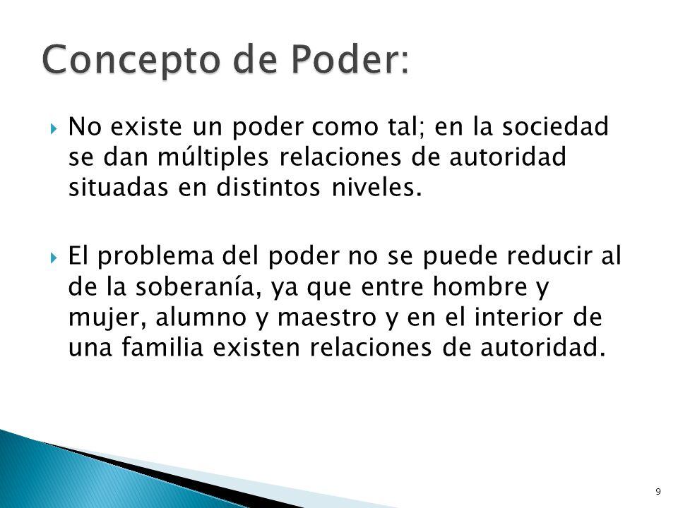 Concepto de Poder: No existe un poder como tal; en la sociedad se dan múltiples relaciones de autoridad situadas en distintos niveles.