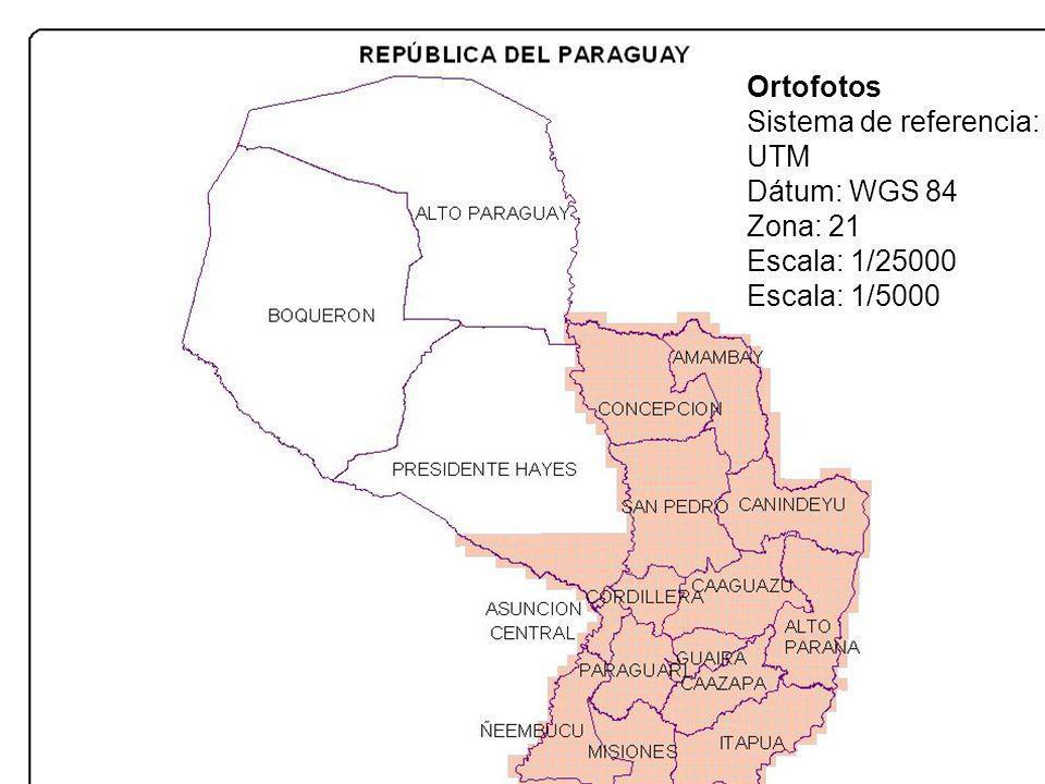 Ortofotos Sistema de referencia: UTM Dátum: WGS 84 Zona: 21 Escala: 1/25000 Escala: 1/5000