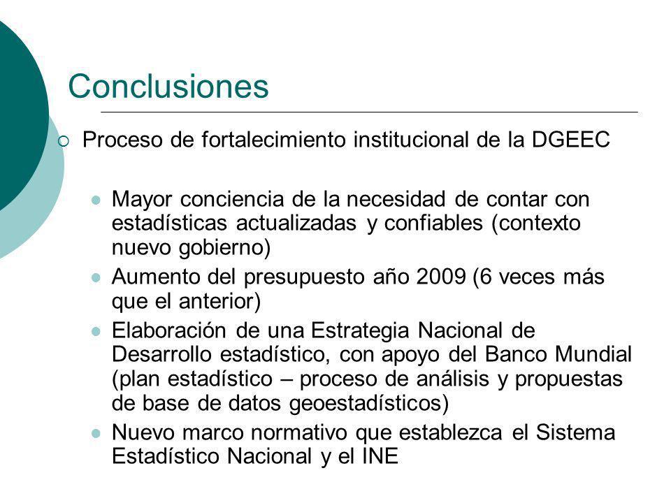 Conclusiones Proceso de fortalecimiento institucional de la DGEEC