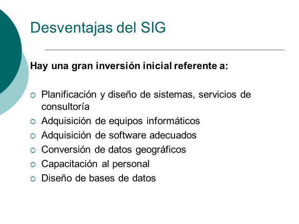 Desventajas del SIG Hay una gran inversión inicial referente a: