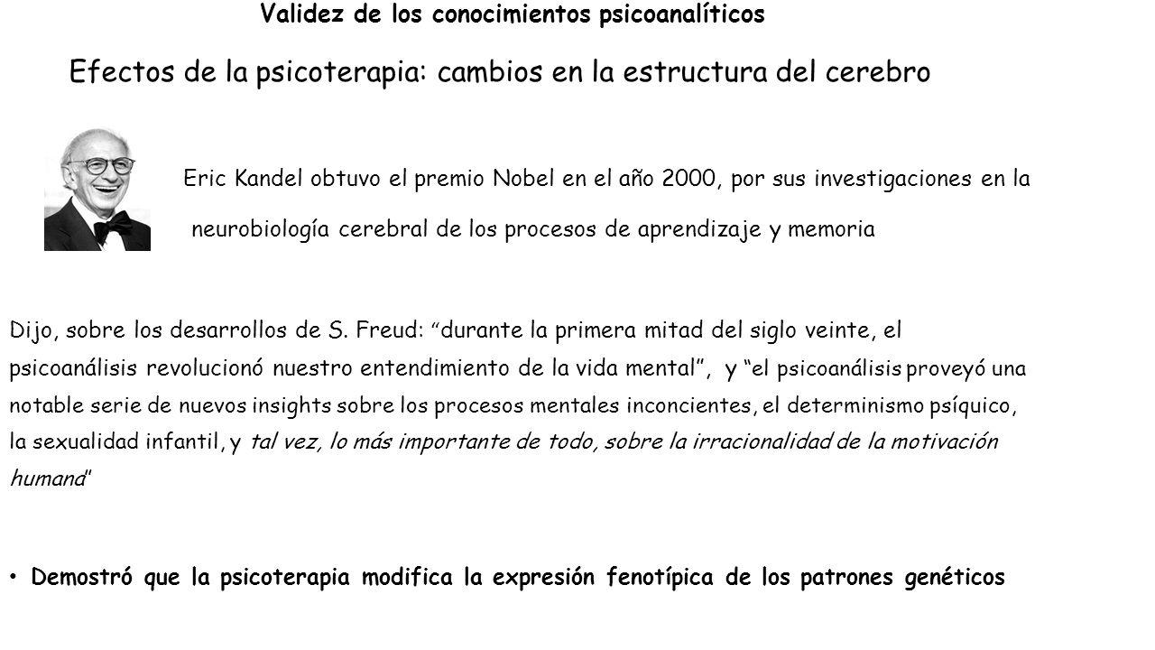 Validez de los conocimientos psicoanalíticos Efectos de la psicoterapia: cambios en la estructura del cerebro