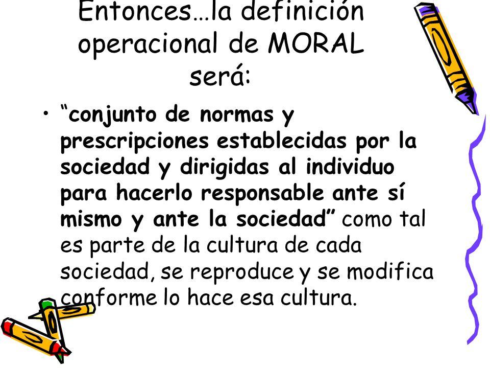 Entonces…la definición operacional de MORAL será: