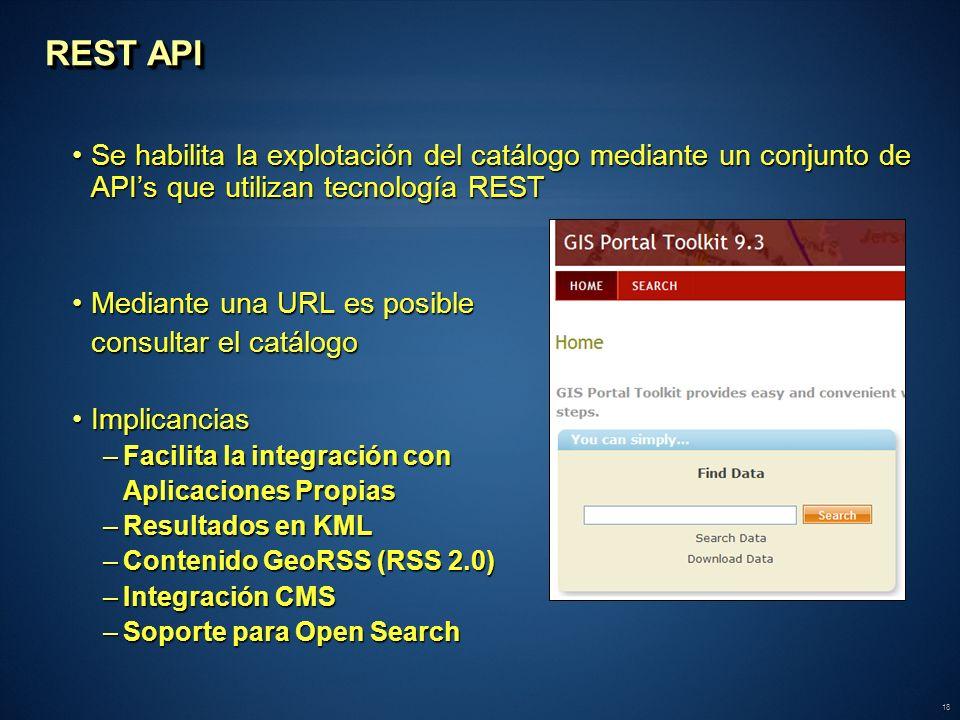 REST API Se habilita la explotación del catálogo mediante un conjunto de API's que utilizan tecnología REST.