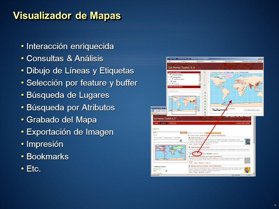 Visualizador de Mapas Interacción enriquecida Consultas & Análisis