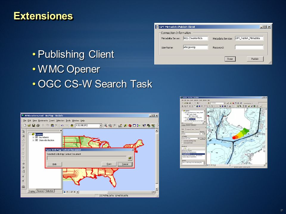 Extensiones Publishing Client WMC Opener OGC CS-W Search Task