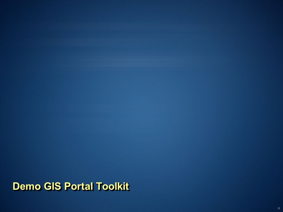 Demo GIS Portal Toolkit