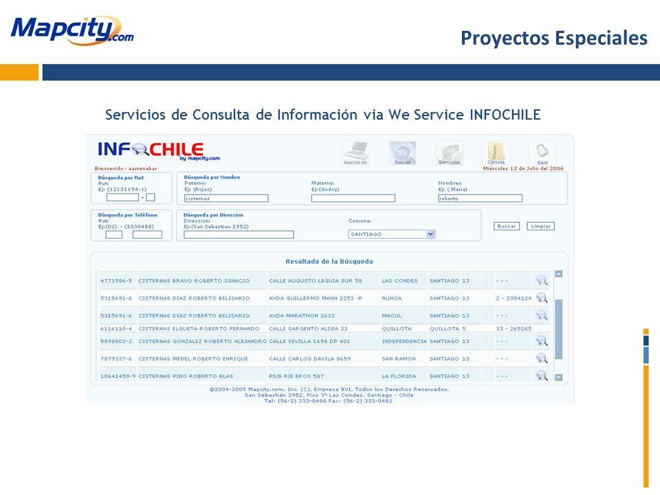 Servicios de Consulta de Información via We Service INFOCHILE