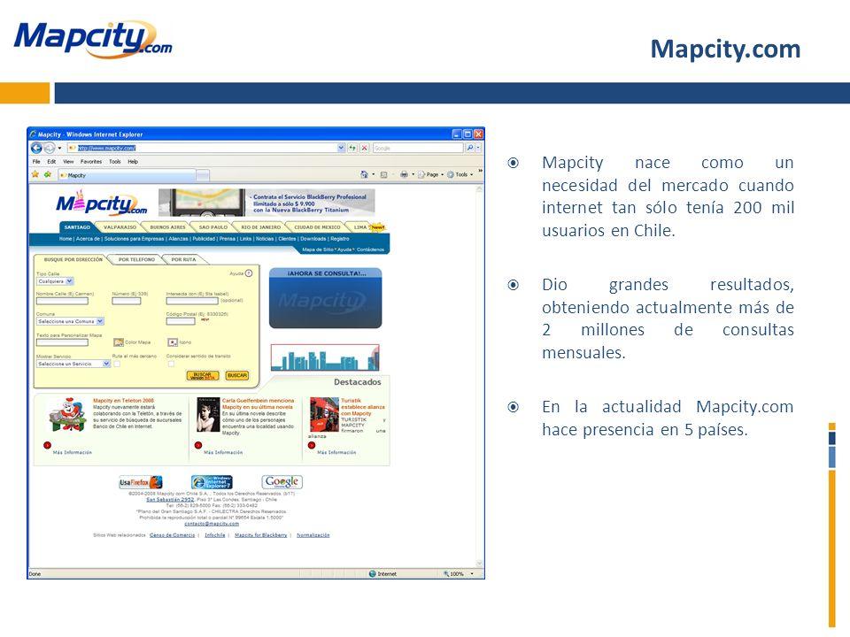 Mapcity.comMapcity nace como un necesidad del mercado cuando internet tan sólo tenía 200 mil usuarios en Chile.