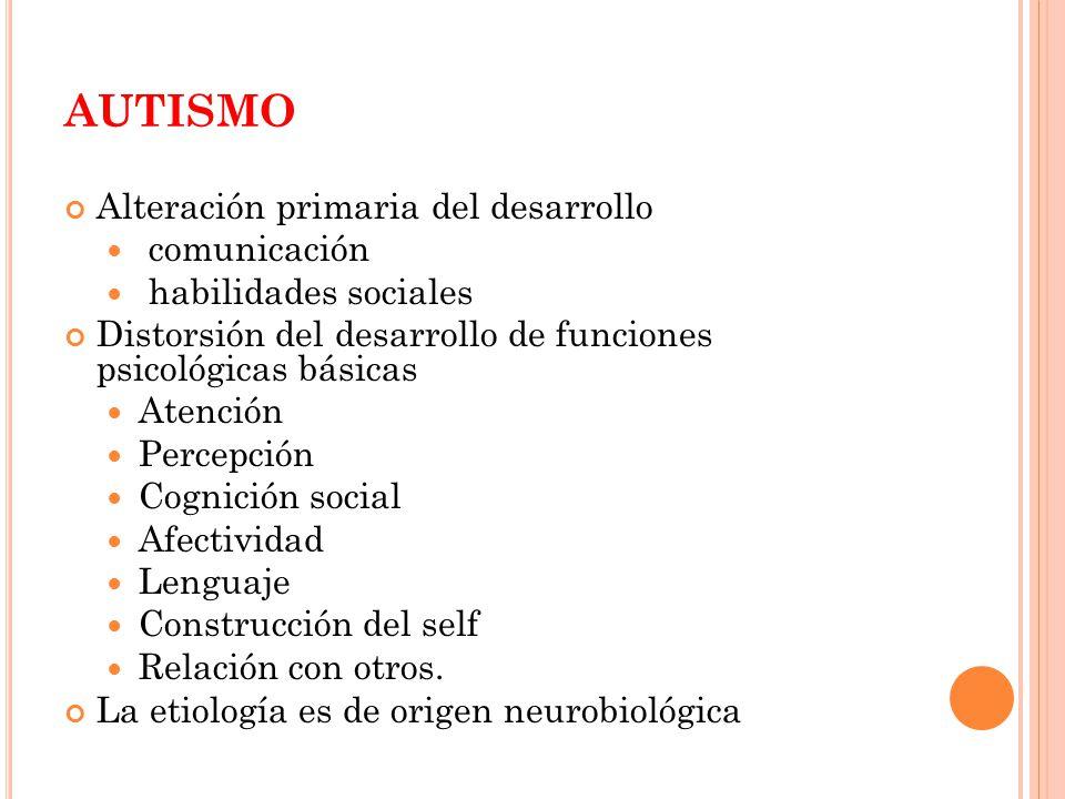 AUTISMO Alteración primaria del desarrollo comunicación