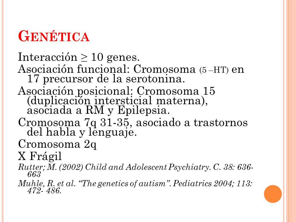 Genética Interacción ≥ 10 genes.