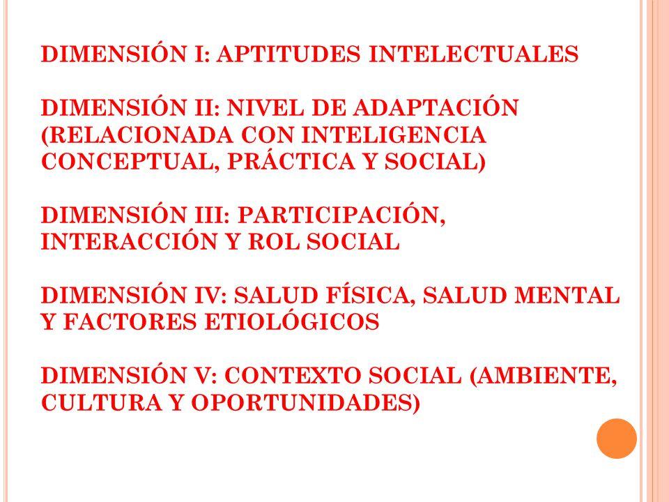 DIMENSIÓN I: APTITUDES INTELECTUALES DIMENSIÓN II: NIVEL DE ADAPTACIÓN (RELACIONADA CON INTELIGENCIA CONCEPTUAL, PRÁCTICA Y SOCIAL) DIMENSIÓN III: PARTICIPACIÓN, INTERACCIÓN Y ROL SOCIAL DIMENSIÓN IV: SALUD FÍSICA, SALUD MENTAL Y FACTORES ETIOLÓGICOS DIMENSIÓN V: CONTEXTO SOCIAL (AMBIENTE, CULTURA Y OPORTUNIDADES)