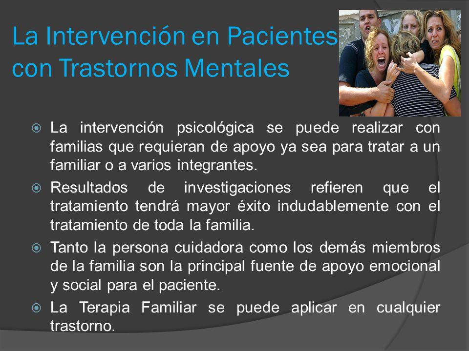 La Intervención en Pacientes con Trastornos Mentales