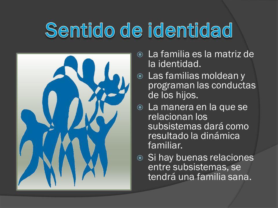 Sentido de identidad La familia es la matriz de la identidad.