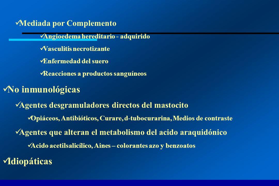 No inmunológicas Idiopáticas Mediada por Complemento